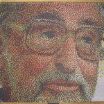 "Push pin portrait of Dr. Seuss, 40"" x 60"" using photoshop to pixelate and enlarge the image, 2-Dimensional Design."