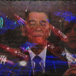 """Ronald Reagan and Oliver North, with images of Missiles from Reagan's """"Star Wars."""" 1996."""