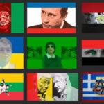 Flags Series (Afghanistan, Russia, Egypt Ukraine, Libya, Syria, Myanmar, Pan-african, Greece). 2004-14.